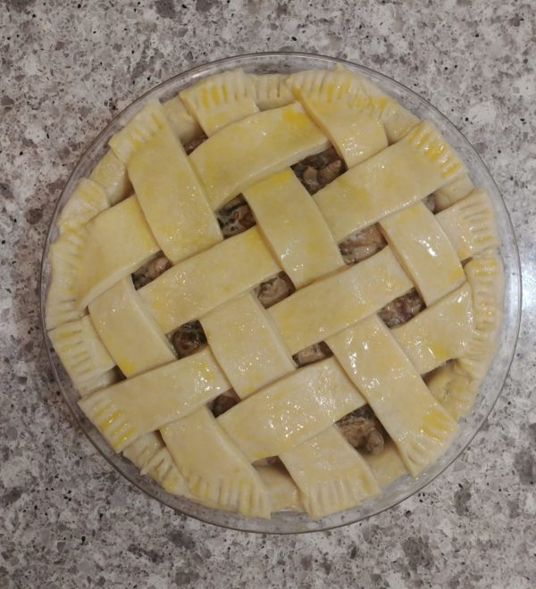 Pie with lattice top and egg wash