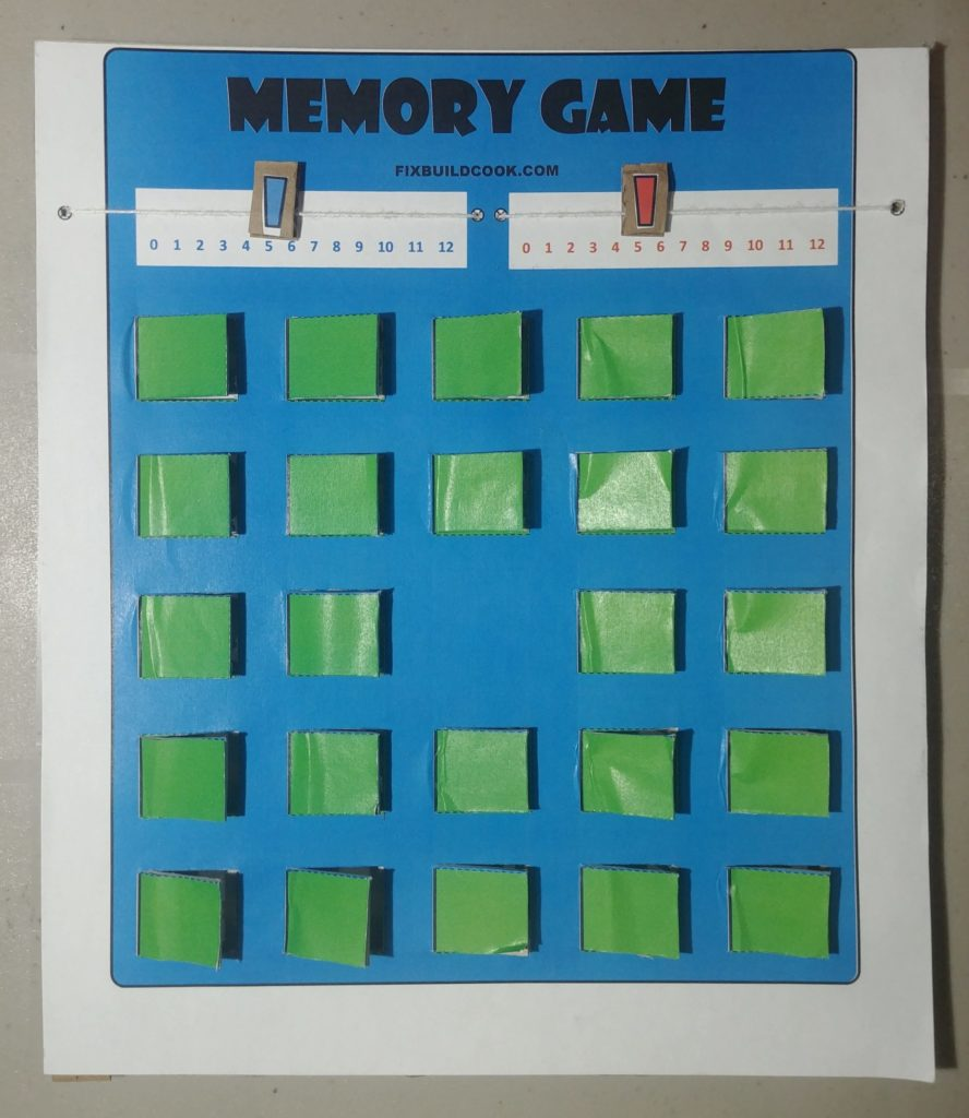 Free Printable Memory Game Board with inserts