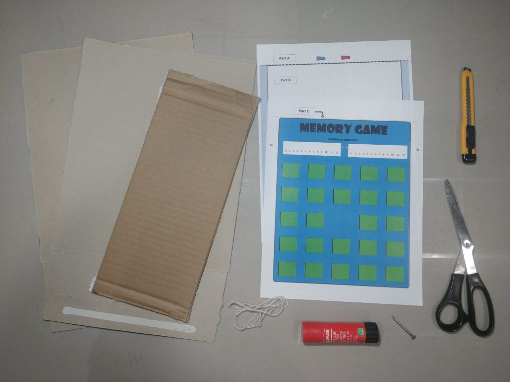 Supplies needed to make the memory game board