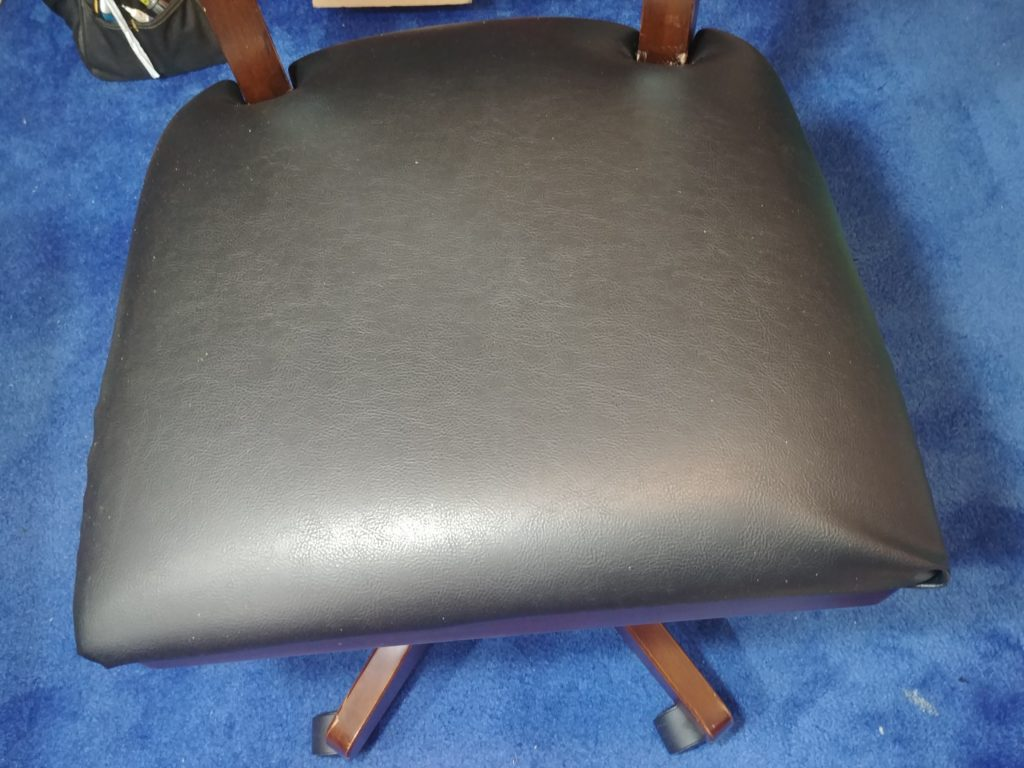 Newly reupholstered seat cushion
